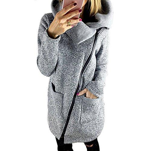 Bold Manner Veste Femme Manteau Hiver Veste  Capuche Col Hauts Tops Pullover Zip Sport Casual gris claire