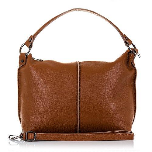 FIRENZE ARTEGIANI.Bolso de mujer piel auténtica.Bolso cuero genuino piel DOLLARO tacto suave. MADE IN ITALY. VERA PELLE ITALIANA. 38x26x14 cm. Color: TAUPE Leather