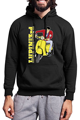 Swetshirt uomo LUPIN VESPA GIALLA - felpa 40% cotone 60% poliestere JHK_Original Lupin the 3rd