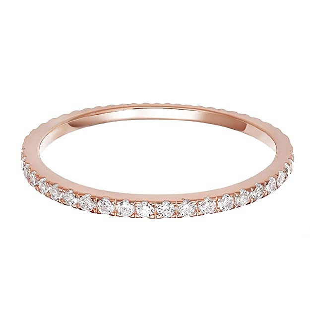 PAVOI AAAAA CZ 14K Rose Gold Plated Silver Cubic Zirconia Stackable Eternity Ring - Size 5 best minimalist jewelry