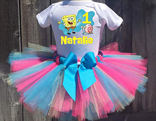 Spongebob Squarepants And Gary Personalized Birthday Outfit Tutu Set