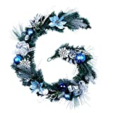 "Teresa's Collections 72"" Silver and Blue Artificial Decorative Christmas Garland Pre-Lit,Battery Operated 20 LED Lights with Christmas Ball Ornaments,Snowflakes,Pine Cones,Ribbons and Flowers"