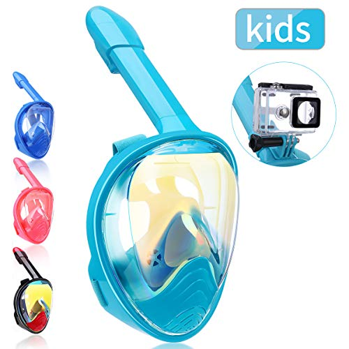 QingSong Newest Version Kids Full Face Snorkel Mask with Safety Free Breathing System, 180 Degree Panoramic Snorkel Set with Detachable Camera Mount Anti-Fog Anti-Leak Anti-UV