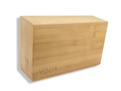 PhysCool Bloque de yoga de bambú natural (1 pieza, no tóxico, ladrillo de yoga profesional para entusiasta del yoga)