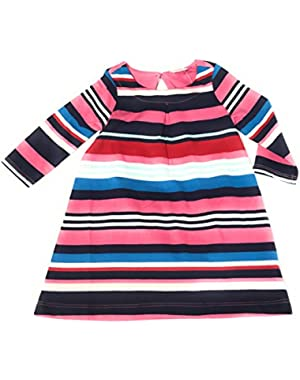 baby girl long sleeve jersey knit stripe dress 6-12 Months