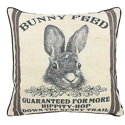 (JuniperLab Farmhouse Bunny Vintage Easter Retro Primitive Old Feed Sack Cotton Linen Throw Pillow Covers Rabbit Hare Cushion Cover Shams 16'' Square French Country Shabby Chic)