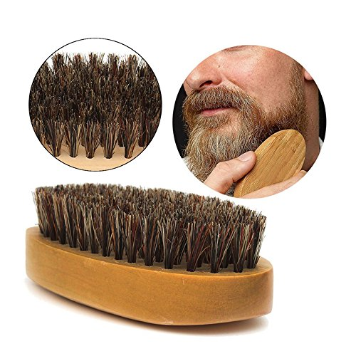 Beard Brush for Men Long Beard Grooming and Shaping, Boar Bristle Beard Comb Natural Bamboo Facial Pocket Brush for Mustache Styles Short, Great with Beard Oil, Balm, Beard Shampoo and Conditioner