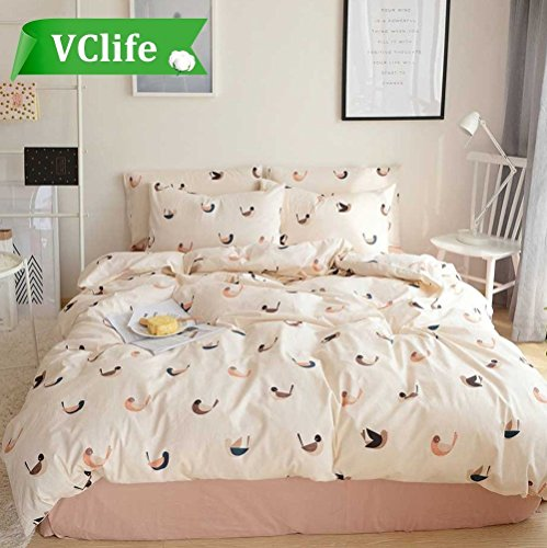 VClife Luxurious Duvet Cover Sets Love Birds Printed Bedding Duvet Cover Sets Wedding Bedding Collections-1 Duvet Cover with 2 Pillow Shams, Fade, Wrinkle Resistant, Skin-friendly, Full (Love Bird Collection)