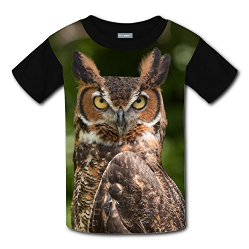Owl in Nature Kids Original Design Funny Print T-shirts Top Crew Neck Boys Girls