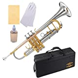Glory Brass Bb Trumpet with Pro Case +Care Kit,Nickel Plated Intermediate Double-Braced Bb Trumpet, More COLORS Available ! CLICK on LISTING to SEE All Colors