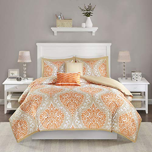 Intelligent Design Senna Comforter Set Full/Queen Size - Orange/Taupe, Damask - 5 Piece Bed Sets - All Season Ultra Soft Microfiber Teen Bedding - Great For Guest Room and Girls Bedroom