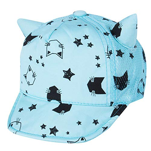 子野球帽 春秋冬帽子 幼児 赤ちゃん かわいい猫の耳 子供綿の帽子,青,M