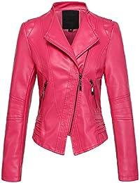 90b14afe9 Women's Casual Collarless Cropped Pu Leather Biker Jacket