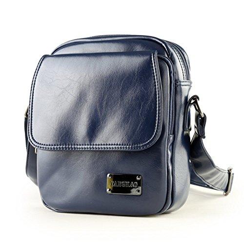 Sincere® La bolsa de mensajero del bolso de hombro de cuero / bolso del hombre del morral del estudiante / ocio al aire libre / de los hombres de negocios a través del pequeño paquete azul-marina de g