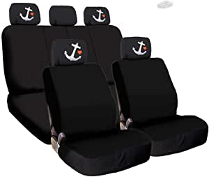 Set of 2 Fit Buccaneers Fit Tampa Bay Buccaneers Car Headrest Covers,Black Slip Over Emblem Printed Head Rest Cover Universal Car Interior Accessories fit for Toyota Jeep Ford Lexus Cadillac