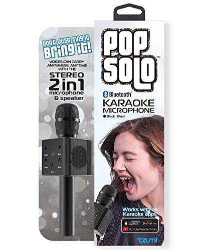 Tzumi PopSolo, Portable Wireless Bluetooth Karaoke Microphone, Dual Stereo Speakers, 2200mAh Battery, 5 Mixing Controls.(Black)