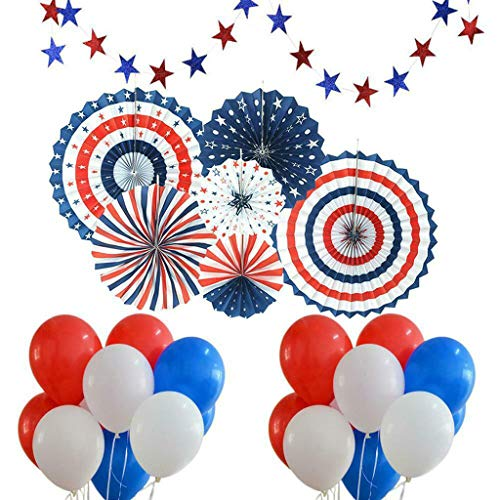 (Efaster 6 X Paper Fans + 30 X Balloons + 1 X Stars,July 4th Decor Hanging Paper Fans Decoration Set,Independence Day Round Pattern Spiral Ribbon Garlands Paper Fans Origami Wall Decoration Set (B))