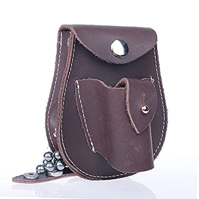 2 in 1 Genuine Leather Hunting Slingshot Pouch With Ball Ammo Pouch Bag Case Holder Belt Holster Waist Pouch