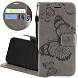 Gostyle LG Q6 Flip Wallet Case with Credit Card Holder,LG G6 Mini Slim Fit Premium PU Leather Case 3D Embossed Butterfly Pattern with Kickstand Magnetic Closure Money Pouch Protective Cover,Gray