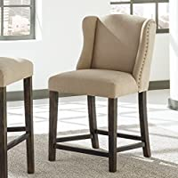 Moriany Light Beige Upholstered Nailhead Counter Barstools, Set of 2