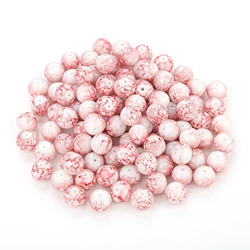 Navifoce Artistic Marble Design Various Color Round Loose Beads Lampwork Bead for Jewelry Making Craft,8mm Diameter (Pink)