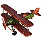 Cosette Vintage Collect Handmade Realistic Classic Red Helicopter Wooden Plane Model Toy