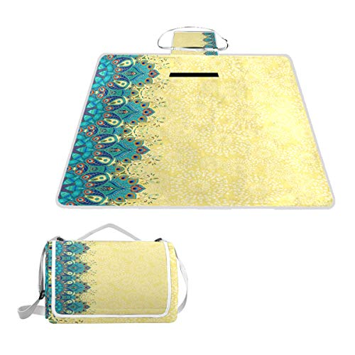 Aluy's boutique Luxurious Peacock Feathers Extra Large Picnic Camping Mat 57x59inches for Summer Beach Hiking Grass Festivals Travel Outdoor Picnic Foldable Blanket Moisture-Proof Mat