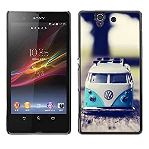 Impact Case Cover with Art Pattern Designs FOR Sony Xperia Z L36H Hippie Bus 70'S Weed Culture Van Betty shop