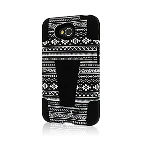 LG Optimus L70 / Exceed 2 / Realm / Pulse Case , MPERO IMPACT X Series Dual Layered Tough Durable Shock Absorbing Silicone Polycarbonate Hybrid Kickstand Case [Perfect Fit & Precise Port Cut Outs] - Black (Lg L70 Optimus Black Cases)
