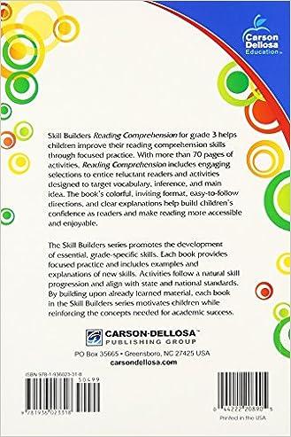 Reading Comprehension, Grade 3 (Skill Builders): Carson-Dellosa ...