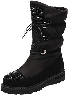 BNXXINGMU Donne Snow Boots Panno Cerniera Lampo Impermeabile Blend Fodera Donne Scarpe Invernali Non-Slip Nero 4