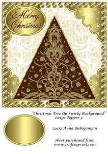 Árbol de Navidad diseño de Swirly de fondo para tamaño grande 3 Topper por Anna Babajanyan