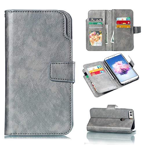 [해외]CUSKING 화 웨이 P 스마트 케이스 가죽 플립 북 스타일 케이스 마그네틱 지갑 커버 카드 홀더 용 화 웨이 P 스마트 그레이 / CUSKING Huawei P Smart Case Leather Flip Bookstyle Case Magnetic Wallet Cover with Card Holder for Huawei P Smart ...