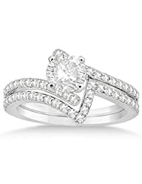 Twisted Diamond Engagement Ring and Wedding Band Palladium 0.52ct (No center stone included)