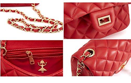 Mujer Quilted Women Marca Bolso Bags Rojo For Cuero Moda Sheli Bandolera 5xYSUAxw