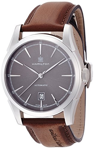 Hamilton Men s Timeless Classic Stainless Steel Swiss-Automatic Watch with Leather Calfskin Strap, Brown, 22 Model H42415591