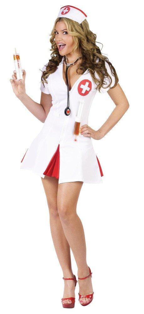 Damen-Kostüm Say Ahhh! Krankenschwester mit Spritzen Schwester Kurze Shots, Größe:M/L