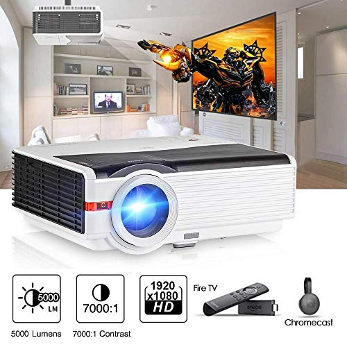 5000 Lux High Brightness Video Projector with HDMI USB, Home Theater Multimedia Projector Support Full HD for Outdoor Entertainment Gaming, Compatible with PC Xbox PS3 Laptop Roku TV Box Smart Phone