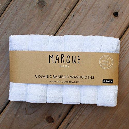 "100% Organic Bamboo Cotton Baby Washcloths - 6pcs NO DYES Super Soft & Absorbent Bath Towels 10""x10"""