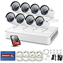 ANNKE HD 960P 8Ch Network SPOE Camera Security System 1080P NVR Recorder with 1TB Hard Drive and (8) 1080x960p Outdoor Bullet IP Cameras,100ft Night Vision, Power over Ethernet (White)