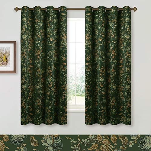 StangH Blackout Velvet Panel Curtains - Vivid Floral Print Decorative Drapery Heat Blocking Noise Absorbing Window Covering for Cafe Store, Green, 52