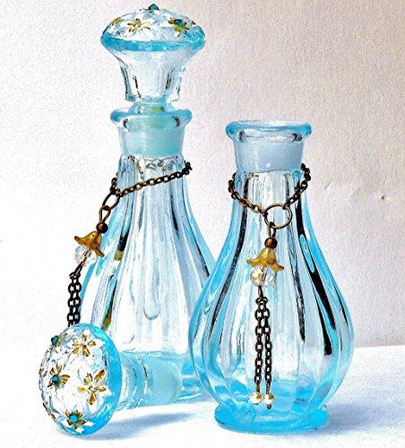 Cornflower Blue Glass Mini Perfume Bottle with Swarovski Crystal Rhinestones and Dangling Pearls (Victorian Crystal Blue)