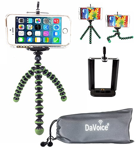 DaVoice Flexible Tripod Compatible with iPhone 7 6s 6 5s 5c 5 4s 4 SE 8 X XS XR Galaxy S9 S8 S7 S6 S5 - Bendy Tripod - Cellphone Tripod Adapter - Travel Bag - Mini Lightweight Bendable (Green/Black) (Light Green Iphone 4s Case)