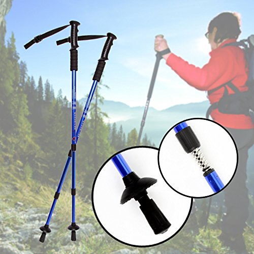 Antishock Trekking Poles, Outdoor Sports Hiking Walking Stick Adjustable Trekking Trail Poles -Ultralight Aviation Aluminum, Foam Folding,Telescopic Curved Handle(One Pair Blue)