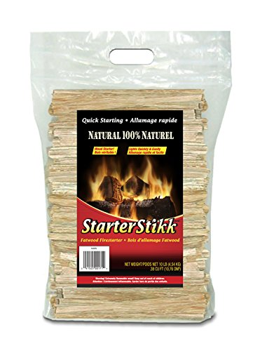 Pine Mountain STO StarterStikk 100% Fatwood, 10 Pound Resealable Poly Bag Natural Firestarting Sticks Campfire, Fireplace, Wood Stove, Fire Pit, Indoor & Outdoor (Starter Kindling Fire)