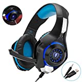 Gaming Headset with Microphone Stereo Beexcellent Over Ear Headphones Deep Bass Headphones with LED Lighting for Xbox, PlayStation 4, PC gamers (Blue)