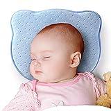 CoWalkers Almohada moldeadora para bebés recién nacidos, almohada de espuma de memoria suave para bebés para prevenir la cabeza plana, 100% algodón, almohada transpirable, mejor para bebés de 0 a 12 meses (Azul)