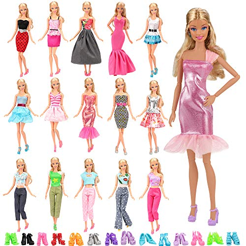 (Barwa Lot 15 Items 5 Sets Fashion Casual Wear Clothes Outfit Handmade Party Dress with 10 Pair Shoes for Barbie Doll Birthday Xmas)