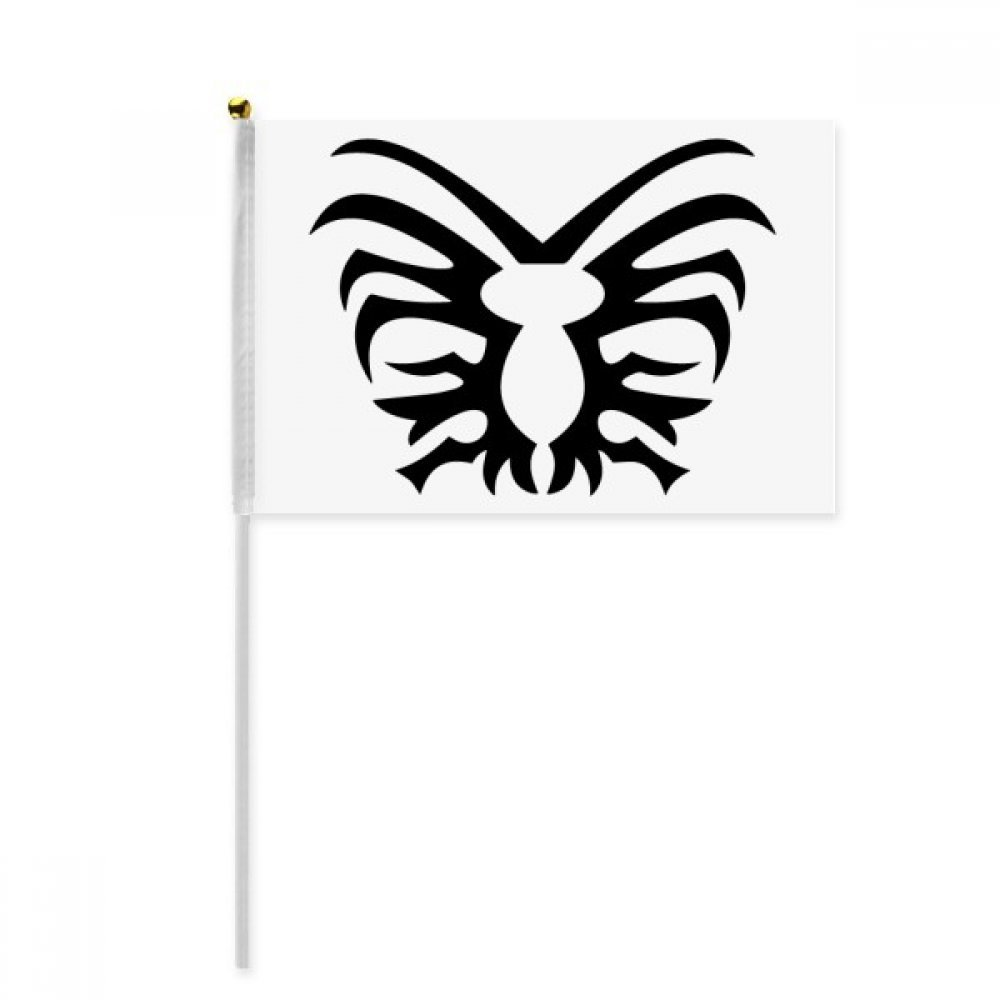 Black Illustration Insect Spider Pattern Hand Waving Flag 8x5 inch Polyester Sport Event Procession Parade 4pcs