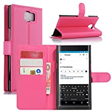 Fettion Blackberry Priv Case, Premium PU Leather Wallet Cases Flip Cover with Stand Card Holder for Blackberry Priv 2015 Smartphone (Wallet - Rose)